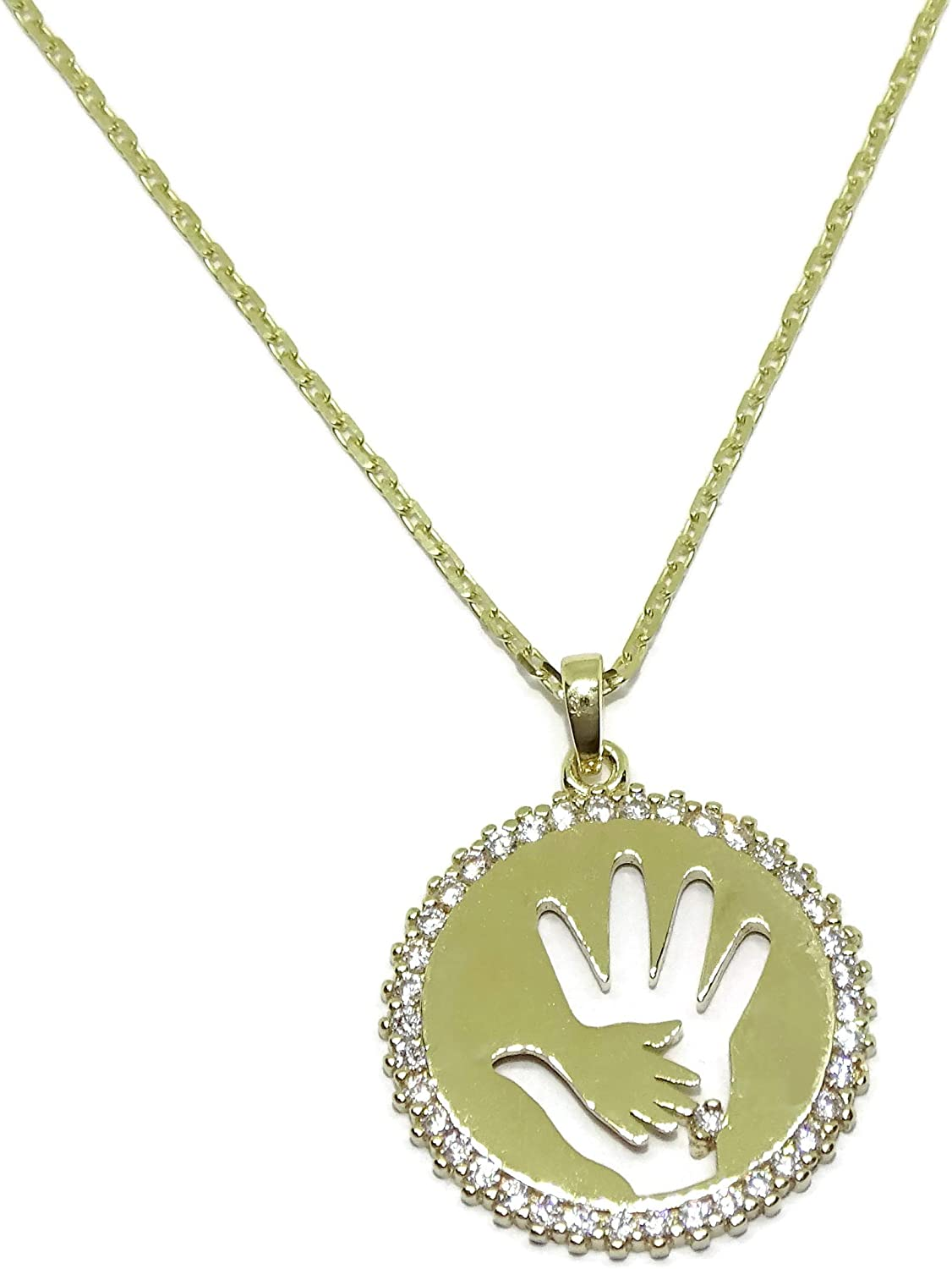 Never say Never 9K Gold Linking Hands Collar Necklace for Moms | Round Zirconia Pendant Charm Chain 45cm long | 2.40g Real Gold | Meaningful Jewelry | Brilliant Gift for Mothers