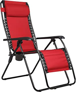 PORTAL Zero Gravity Recliner Lounge Chair, Folding Patio Lawn Pool Chair with Headrest Cup Holder, Support 300lbs, Red (Re...