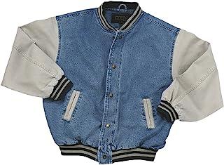 Washed Cotton- Vintage Denim Varsity Jacket with Khaki Sleeves