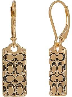 코치 귀걸이 COACH Quilted C Tag Drop Earrings,Golden