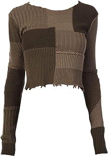 Helmut Lang Women's Dark Peat Military Grunge Crop Sweater