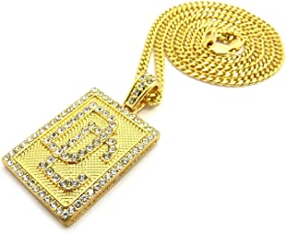 Pyramid Jewelers Mens Iced Out Dream Chaser DC Hip Hop Pendent Box,Rope,Cuban Chain Necklace