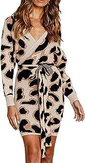 Tkria Women V Neck Sweater Dress Tie Waist Long Sleeve Ribbed Knit Bodycon Dress