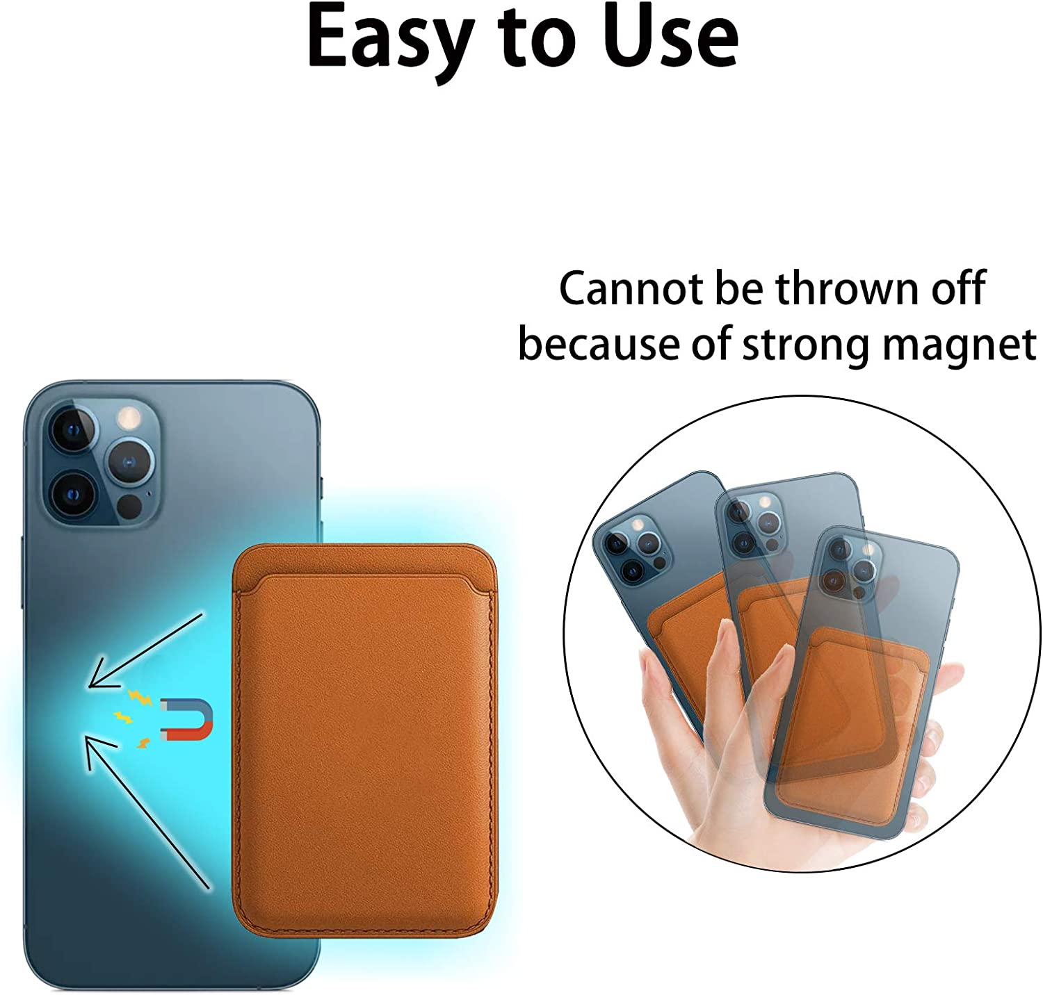 Card Holder for Back of Phone Compatible with iPhone 12 12 Pro 12 Pro MAX 12 Mini Black Magnetic Leather Wallet