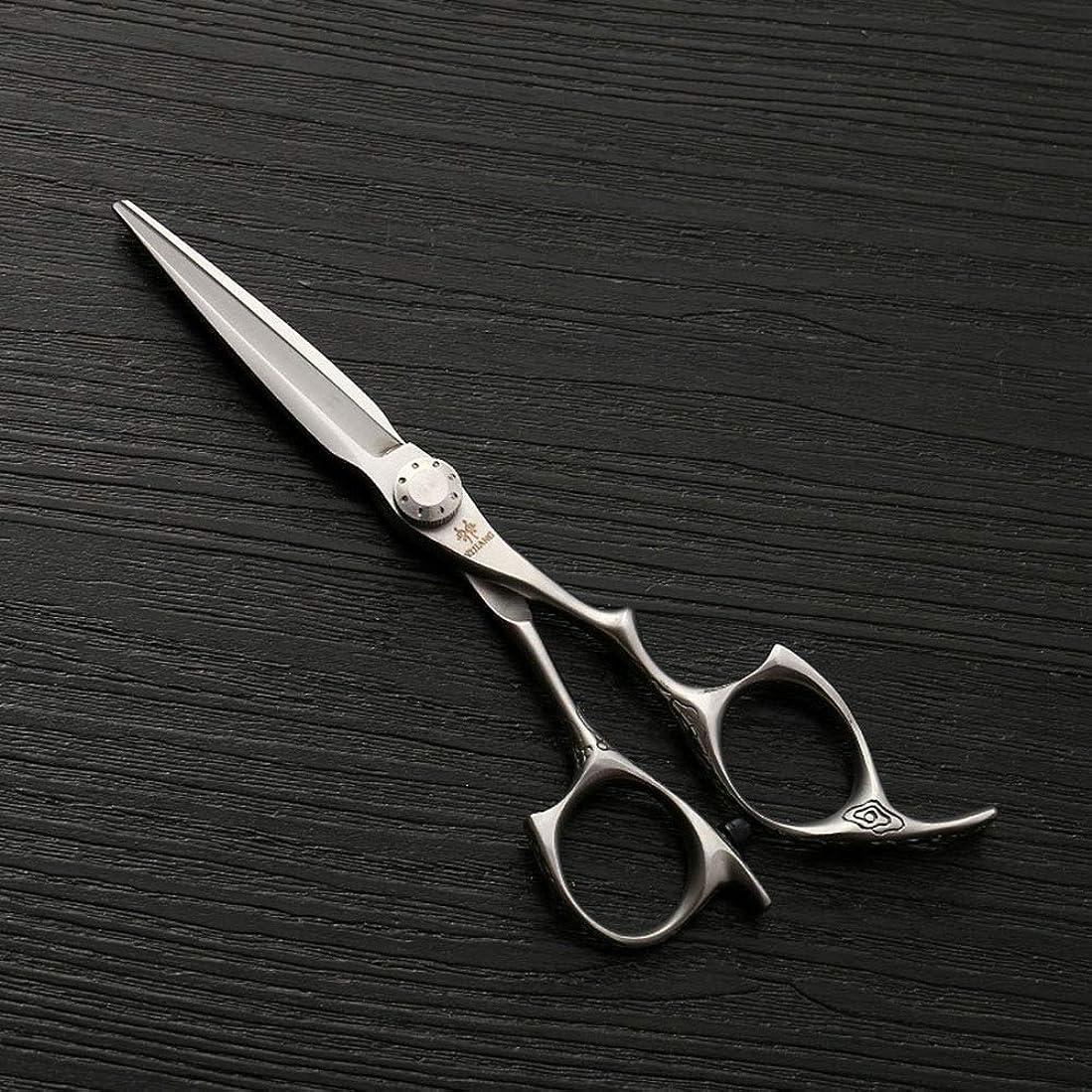 満足包括的品5.5インチステンレス鋼プロフェッショナルフラットせん断、新しいバリカン、ヘアスタイリスト理髪はさみ モデリングツール (色 : Silver)