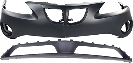 Bumper Cover Set of 2 Compatible with PONTIAC Grand Prix 2004-2008 Front Upper and Lower Primed Base/Gt/Gt1/Gt2/Gtp Models