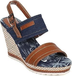 Women's Open Toe Denim Platform Wedge Sandals Summer Ankle Strap Dress Shoes JN