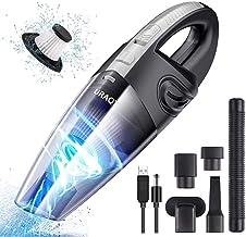 URAQT Aspiradora de Mano, 120W Aspirador Mano Sin Cable Potente, Carga rápida USB Aspiradoras en Seco y Húmedo, Batería de 2200mAh,Filtro Lavable, Accesorio Completo para Oficina Hogar y Coche
