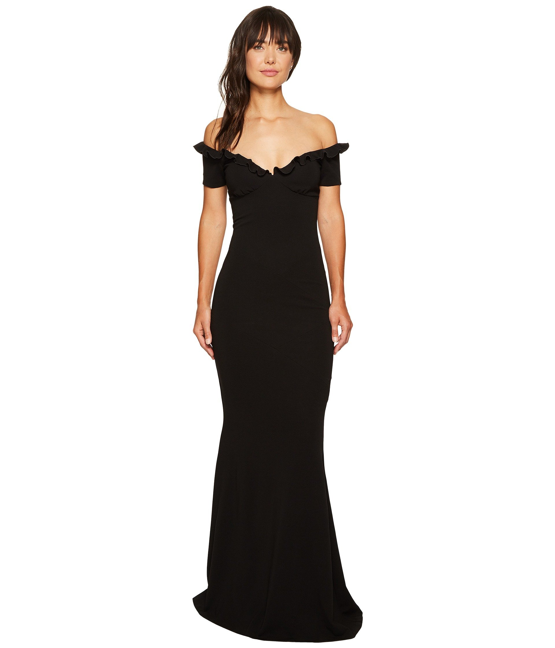 NICOLE MILLER AUDREY OFF SHOULDER RUFFLE GOWN, BLACK | ModeSens