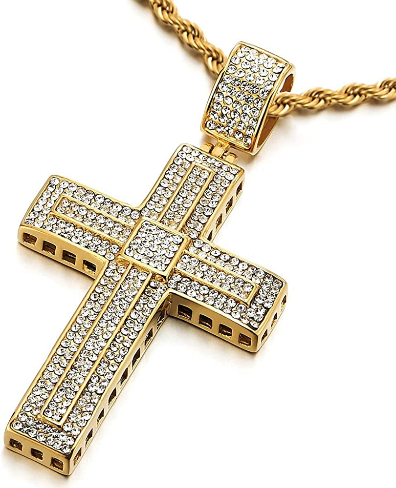 COOLSTEELANDBEYOND Mens Womens Steel Large Gold Cross Pendant Necklace with Cubic Zirconia and 30 inches Rope Chain