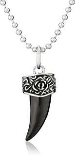 Men's Stainless Steel Black Shark Tooth Pendant Necklace, 21