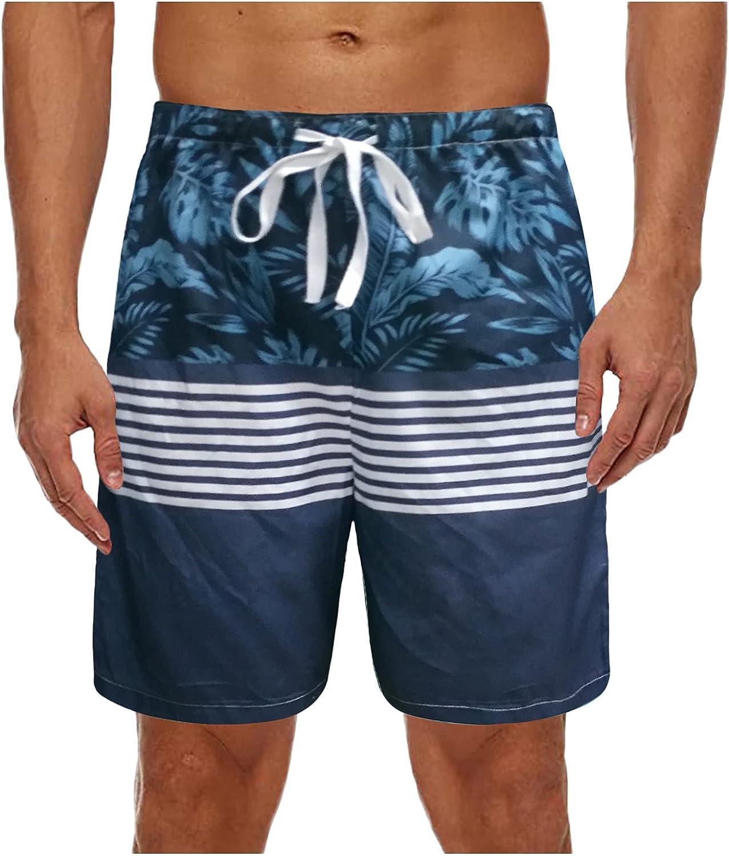Mens Summer Swim Trunk Quick Dry Classic Print Pattern Beach Shorts Elastic Waist Drawstring Stylish Hawaiian Shorts