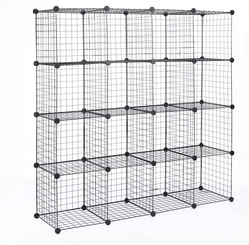 XQAQX Storage Shelving Rack Cabinet Stee Cube 16 Cheap mail order National products sales Black
