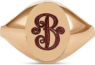 TousiAttar Signet Ring – 14K or 18 Karat Gold Monogram Initial Yellow White Rose - Pinky Oval Rings for Women & Her - Free Engraving Personalized Name