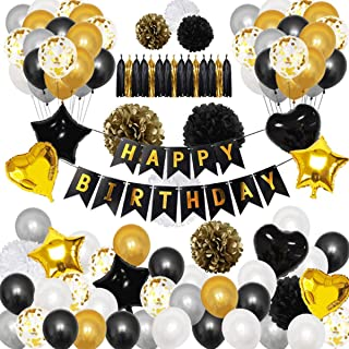 Beauenty 90Pcs Black and Gold Party Decorations Balloons - Happy Birthday Banner Star Heart Foil Balloons