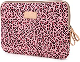 Mocase 11-11.6 Inch Laptop Sleeve - Water Resistant Leopard Canvas Bag Cover for 11-12 Inch MacBook Air, Lenovo Dell Toshiba HP Chromebook ASUS Acer Ultrabook Notebook Computer 11.6 Inch Pink