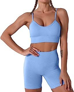 Women Seamless Yoga Set 2 Piece Workout Sport Bra with...