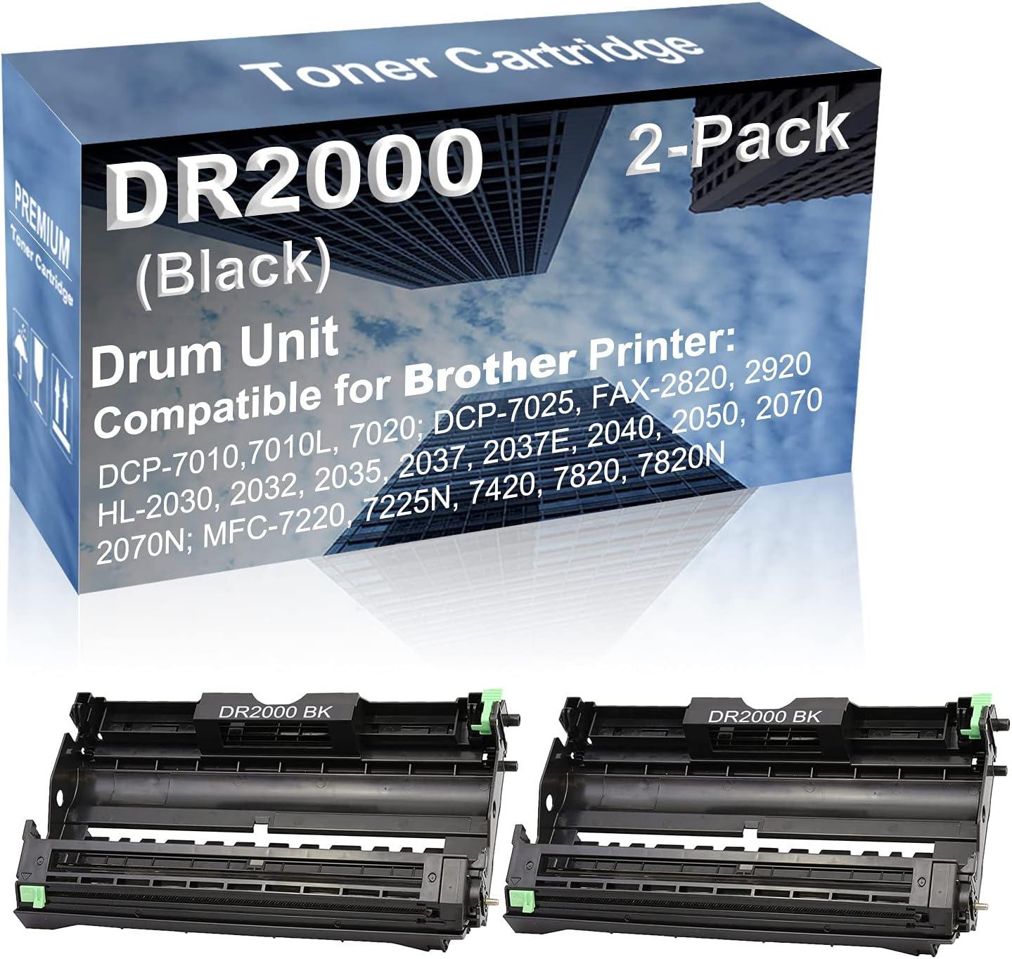 2-Pack (Black) Compatible HL-2032, HL-2035, HL-2037, HL-2037E, HL-2040, HL-2050, HL-2070 Printer Drum Unit Replacement for Brother DR2000 Drum Kit