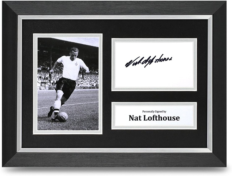 Nat Lofthouse Signed A4 Photo Framed Display Bolton Autograph Memorabilia COA