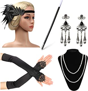 Beelittle 1920s Accessories Headband Earrings Necklace Gloves Cigarette Holder …