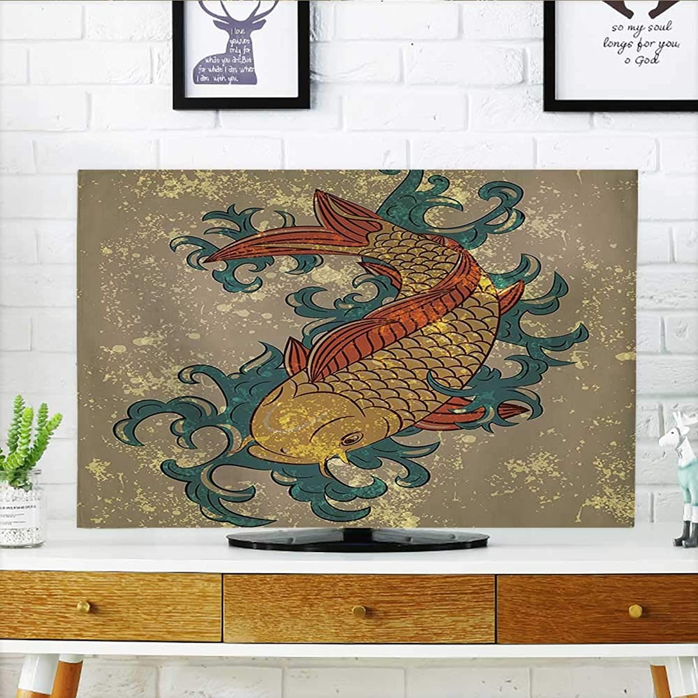 Cord Cover for Wall Mounted tv Grunge Asian Style Oriental Cold Water Koi Carp Fish Aquatic Theme on Distressed Cover Mounted tv W20 x H40 INCH/TV 40