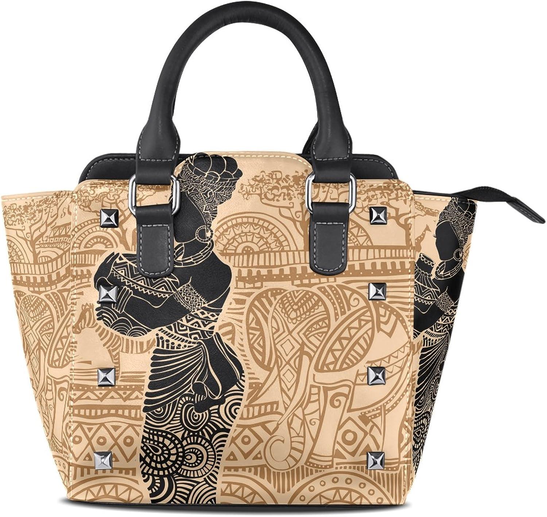 My Little Nest Women's Top Handle Satchel Handbag Tropical Landscape Beautiful African Woman Ladies PU Leather Shoulder Bag Crossbody Bag