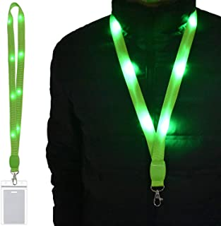 LED Light Up Flashing Lanyard Keychain Holder Keyring Neck Straps Band Holder Necklace Make You Being Seen and Charming at Night for ID Cards Badges Business ID Keys Office Worker (1 Pack-Green)