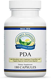 Nature's Sunshine PDA Combination, 180 Capsules   Hydrochloric Acid and Pepsin Supplement That Helps Break Down Proteins in The Digestive Tract