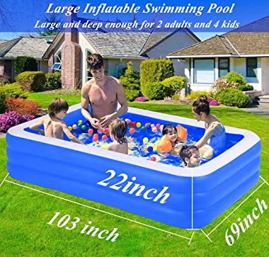 Elefama Inflatable Pool with Pump for Family ,Inflatable Swimming Pool Above Ground Rectangle Pool,Blow Up Pool Large Deep In