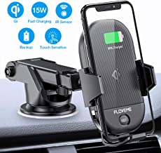 FLOVEME Wireless Car Charger Mount - IR Sensor 15W QI Fast Car Wireless Charger Auto Clamping Air Vent Dashboard Car Phone Charger Holder Compatible with iPhone 11 pro X XS Max Xr 8 Samsung Google