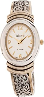 Geneva Platinum Womens Oval Face Bangle Watch, Silver/Gold
