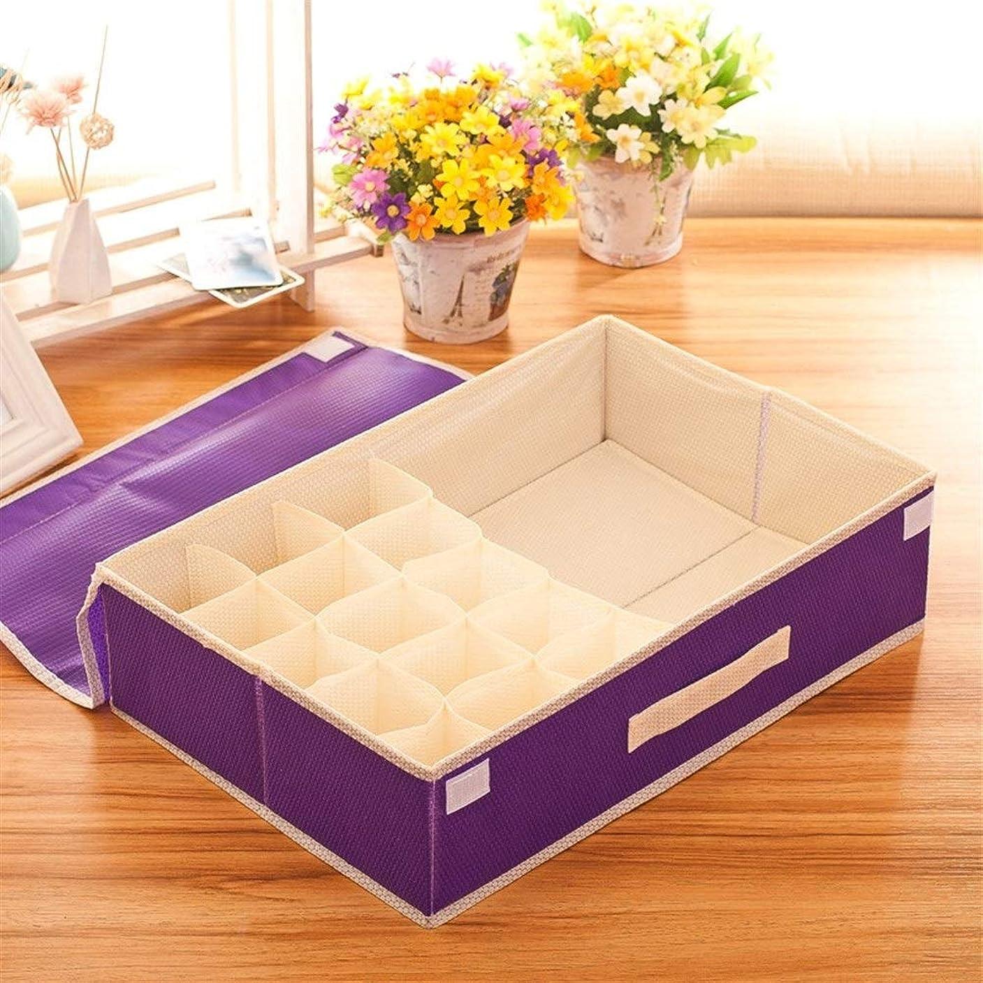 エステート繰り返す満員GMKJ折り畳み式収納袋主催 スクラブ可能なバブルパターン不織布ブラジャーソックスツーインワン折りたたみ下着収納ボックス収納ボックスレディース服収納ボックス家具収納 (色 : Purple)