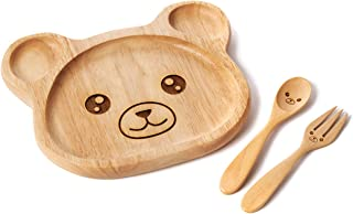 Wooden Plate | Toddler Plate Fork Spoon Set | Dinner Plate Baby Plate | Children Wooden Dish Plate | Wooden Food Tray for Kids | Infant Feeding | Baby Registry | Kids wooden spoon | Eco - Friendly |