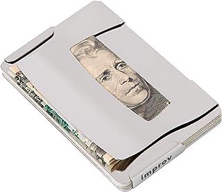 Improv Stainless Steel Minimalist Wallet - Money Clip, Phone Stand, Bottle Opener, Credit Card Holder - 2 RFID Blocking Pl...