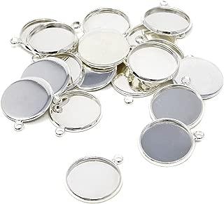 Honbay 20PCS Round Bezel Pendant Trays Blank Bases Cabochon Settings Trays for Jewelry Making (16mm)