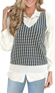 Women's Sweater Vest Houndstooth V-Neck Sleeveless Casual...