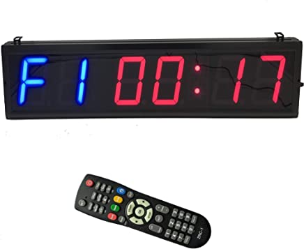 BTBSIGN LED Interval Timer Count Down/Up Clock Stopwatch with Remote for Home Gym Fitness 4'' Blue and Red