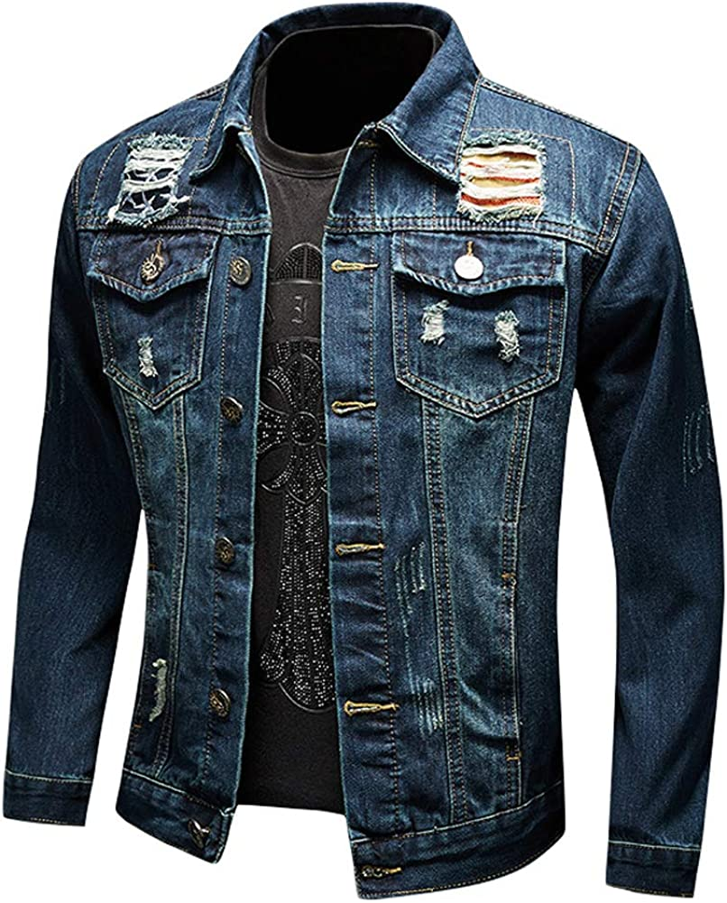 chouyatou Men's Spring Western Style 2021 spring and summer new Distressed D Button Up Hole High quality new