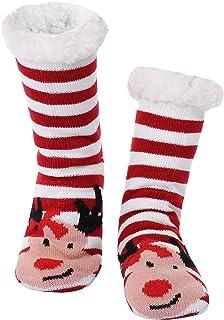 Aibrou, 1 Pcs Calcetines Navidad Mujer, Calcetines de Navidad Termicos Suelo Calcetines Mujer Invierno Antideslizante Calcetin Navidad Suaves Alce de Copo de Nieve de Navidad Zapatillas Calcetines