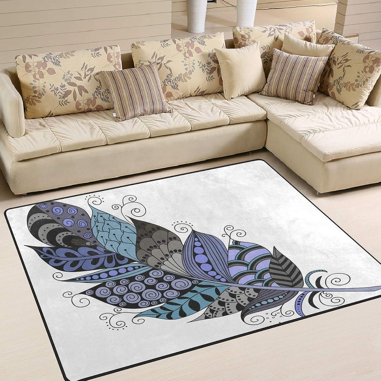 MALPLENA Peculiar Drawing Feather Area Rug Anti Slip pad Entry Way Door Mat Floor Mats shoes Scraper