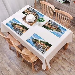 Set de Table Antidérapant Lavable Résiste à la Chaleur Rectangulaire Sets de Table pour Restaurant,Décor italien, village ...