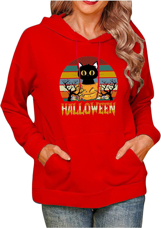 Womens Hooded Sweatshirts Over item handling ☆ Halloween Cat Pullove Print Max 88% OFF Drawstring
