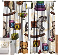 Black Curtains Vintage Decor,Retro Style Toys Rocking Horse Teddy Bear and Bird Illustration Print,Brown and Grey W108 x L108 inch,for Bedroom Embroidery Curtain for Living Room