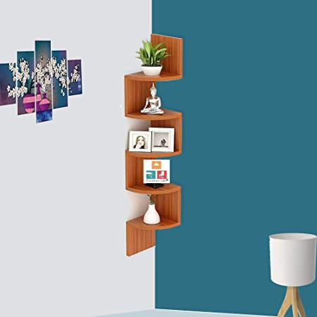 Furniture Cafe® Zig Zag Floating Wall Mount Corner Shelf Wooden Display Shelves Storage Organizer For Wall Decoration Of Your Home, Living Room, Bed Room, Office With Walnut Finish (5 Tiers Colour- Teak Natural)