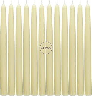 CandleNScent Taper Candles | Tapered Candlesticks - dripless 10 Inch unscented | Ivory | 24 Pack