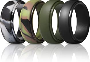 ThunderFit Silicone Rings for Men - 4 Rings / 1 Ring Step Edge Rubber Wedding Bands 10mm Wide