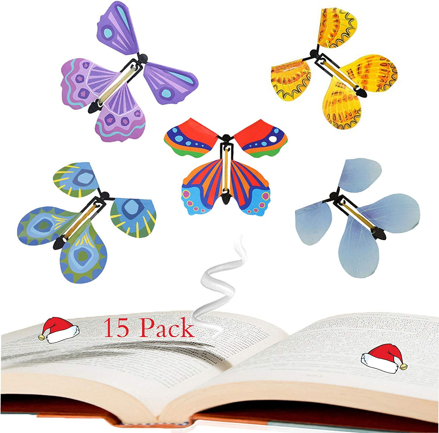 15 Pack JUNBESTN Magic Flying Butterflies Toys 15 Pack Gift for Kids Stocking Stuffers Halloween Wind Up Toys Surprise Gift Party Playing