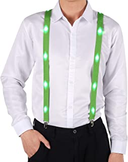 Anmixinuss Adjustable Y Back Style LED Suspenders Party Rave Glow Up Suspender