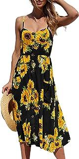 HAVANSIDY Women's Summer Dresses Backless Slim Fit Spaghetti Strap Midi Dress with Pockets