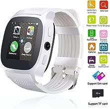 Smart Watch Bluetooth Unlocked Wristwatch Cell Phone With Camera SIM TF Card Slot Sport Fitness Tracker Sweatproof for Men Women Boys Girls for Android Smartphones Samsung Motorola LG HTC (White)